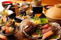 八幡野温泉郷 杜の湯 きらの里 食事は2ヵ所あるお食事処「山ぼうし」「海つばき」で溶岩焼か海鮮しゃぶしゃぶ料理をいただく。