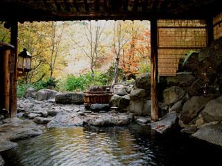 ランプの宿青荷温泉 渓流沿いにある露天風呂はもちろん源泉掛け流しです