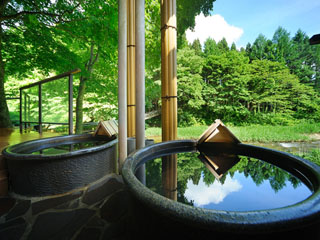 結びの宿 愛隣館 源泉100%掛流し。温泉本来の泉質を満喫できる「信楽薬陶器風呂(川の湯)」