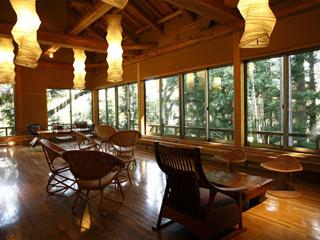温泉山荘 だいこんの花 小とりサロン。りすや小鳥が姿を見せる湯上処です