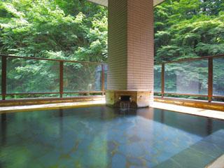 時音の宿 湯主一條 一條の森に囲まれた露天風呂で、森林浴と四季の移ろいを楽しめます