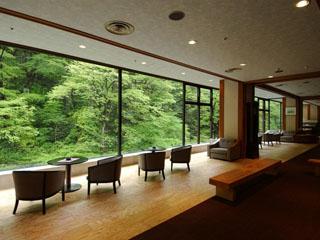原瀧 ロビーからは対岸の自然材や渓谷美を楽しめます