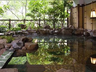 鬼怒川温泉ホテル 渓谷に面した半露天の岩風呂。川音と気持ちの良い風を感じながら入浴できる