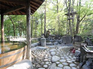ホテル湖城閣 直径3メートルもある大樽風呂や巨木をくりぬいて造った寝湯などほかではあまり見たことがない風呂がたくさん並んでいる。