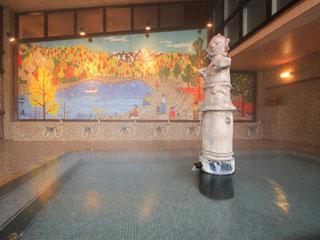 辰巳館 山下清画伯の大壁画「はにわ風呂」