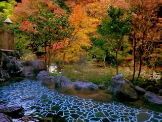 鶴井の宿紫雲荘 秋の大浴場露天風呂