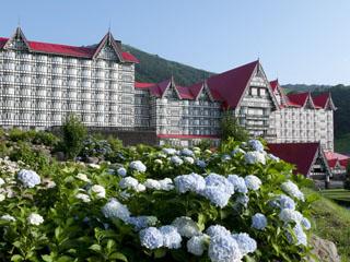 ホテルグリーンプラザ白馬 夏の外観(あじさい園「ミューズのパレット」より臨む)
