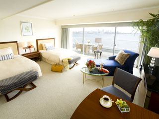 神戸メリケンパークオリエンタルホテル コンフィル ラグジュアリー フロアのプレミアオーシャンツインルーム