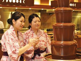きぬ川ホテル三日月 お子様、女性に大人気!甘くて美味しいチョコレートファウンテン(夕食バイキング)