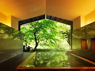 星野リゾート 界 箱根 古代檜の半露天風呂(大浴場)