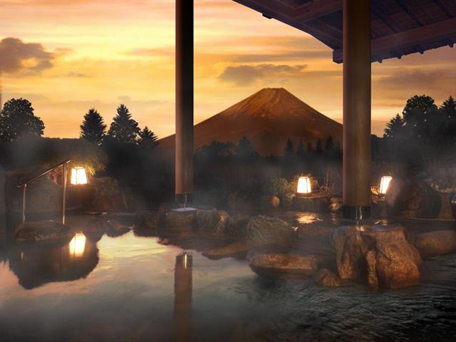 ホテルグリーンプラザ箱根 夕日に染めあげられた富士山を眺めながらの湯浴みは格別