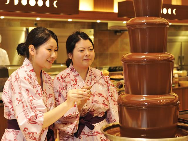 お子様、女性に大人気!甘くて美味しいチョコレートファウンテン(夕食バイキング)