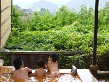 緑豊かな自家泉源を持つ露天風呂