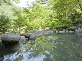 花の宿松や 殿方露天風呂「滝見の湯」