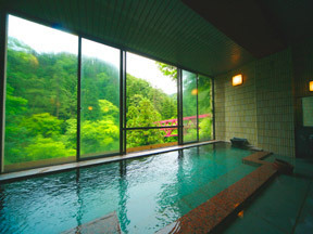 胡蝶 窓越しの景観がすばらしい「川かぜの湯」