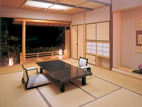 全館源泉掛け流しの宿 西山温泉慶雲館 月見台のついた数寄屋造りの客室