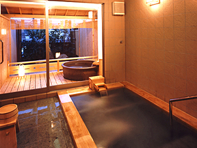 小湊温泉 実入の湯 豊明殿 ヒノキの香り芳しい露天風呂付貸切風呂