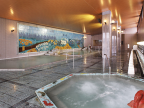 金太郎温泉 宿泊者専用の壁画大浴殿「四季ノ花園」