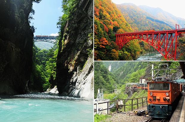 トロッコ電車の赤い橋も鮮やかな景観