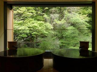 原瀧 貸し切り展望風呂「月見の湯」 信楽焼の丸い湯船が2つ並んだ浴室