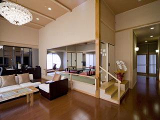 水が織りなす越後の宿 双葉 やすらぎ棟、特別室。「花・水・木」をテーマにつくられた3室。各150平方メートル