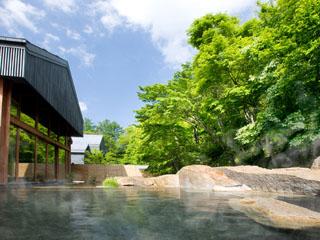 星のや軽井沢 露天風呂と内湯がある源泉かけ流しの温泉「星野温泉 トンボの湯」