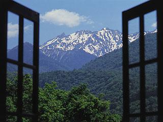 穂高荘山のホテル 眺望