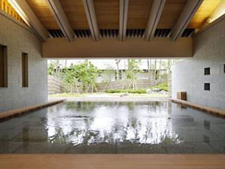 赤沢迎賓館 湯面に映る緑の木々が趣のある雰囲気を醸しだします