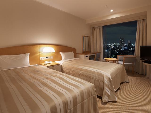 品川プリンスホテル メインタワーツインルーム。高層階からは美しい夜景も