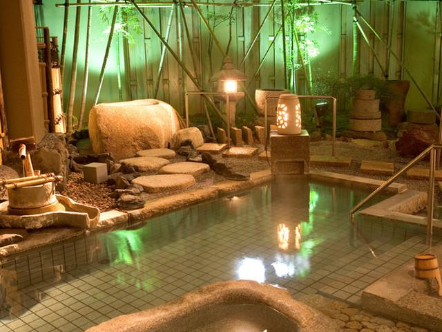 つるや 福の湯庭風風呂・源泉掛け流しの大浴場、露天風呂