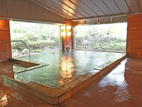 那須温泉山楽 広々ゆったりした湯舟。窓外に広がる自然が映える